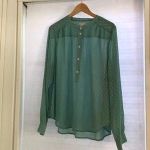 J.Crew long sleeve mint green swiss dot blouse